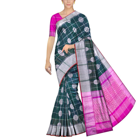Dark Green Kanchi Sunflower body checks kaddi border  Handweave Saree