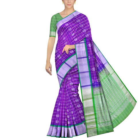 Deep Lilac Kanchi Silver kaddi butterfly buta body checks Handweave Saree