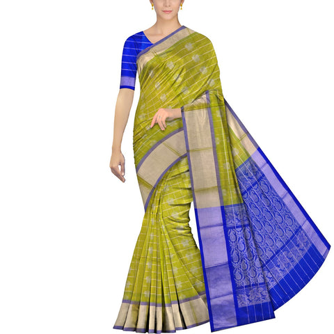 Brass Kanchi Silver kaddi butterfly buta body checks Handweave Saree