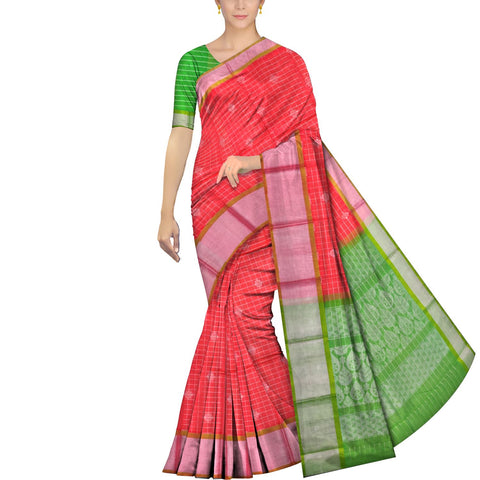 Dark Coral Kanchi Silver kaddi body checks flower buta Handweave Saree