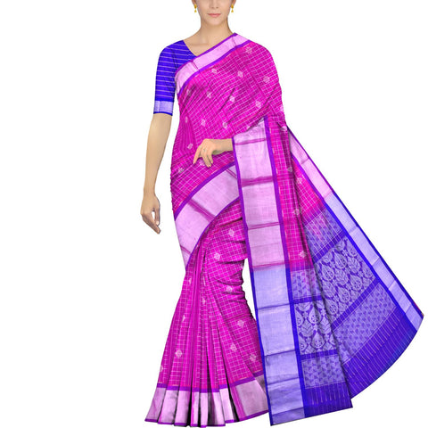 Magenta Kanchi Silver kaddi body checks flower buta Handweave Saree