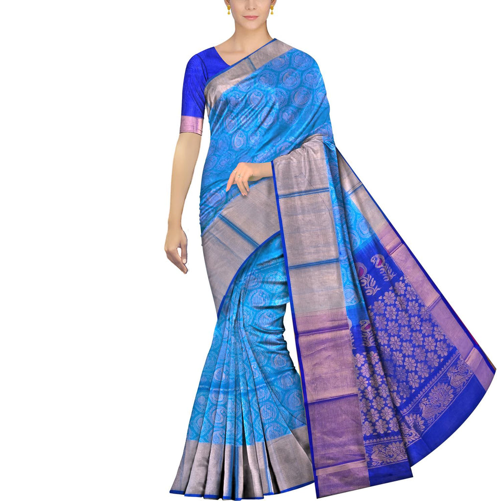 Deep Sky Blue Kanchi Allover peacock buta big kaddi border Handweave Saree