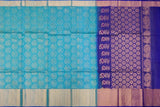 Turquoise Blue Kanchi Allover peacock buta big kaddi border Handweave Saree
