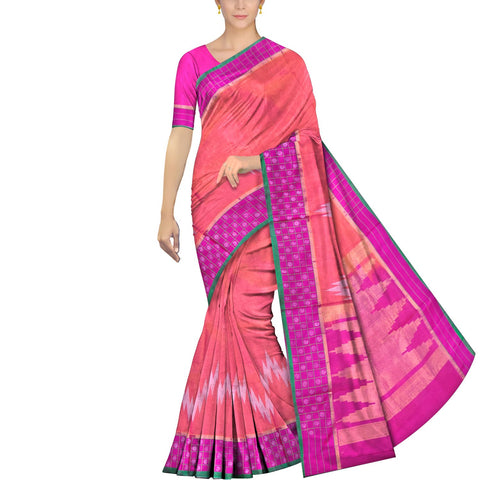 Light Coral Pochampally Handweave Kuppadam buta border ikkat body Saree