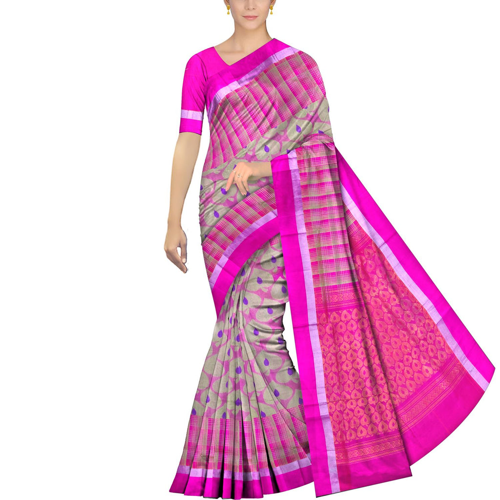 Bluish Grey Uppada Handweave Allover flowerbuta work Saree