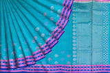 Turquoise Uppada Kuppadam Checks  border flower buta Saree