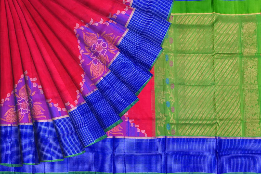 Red Uppada Kuppadam zari checks big border temple buta Saree