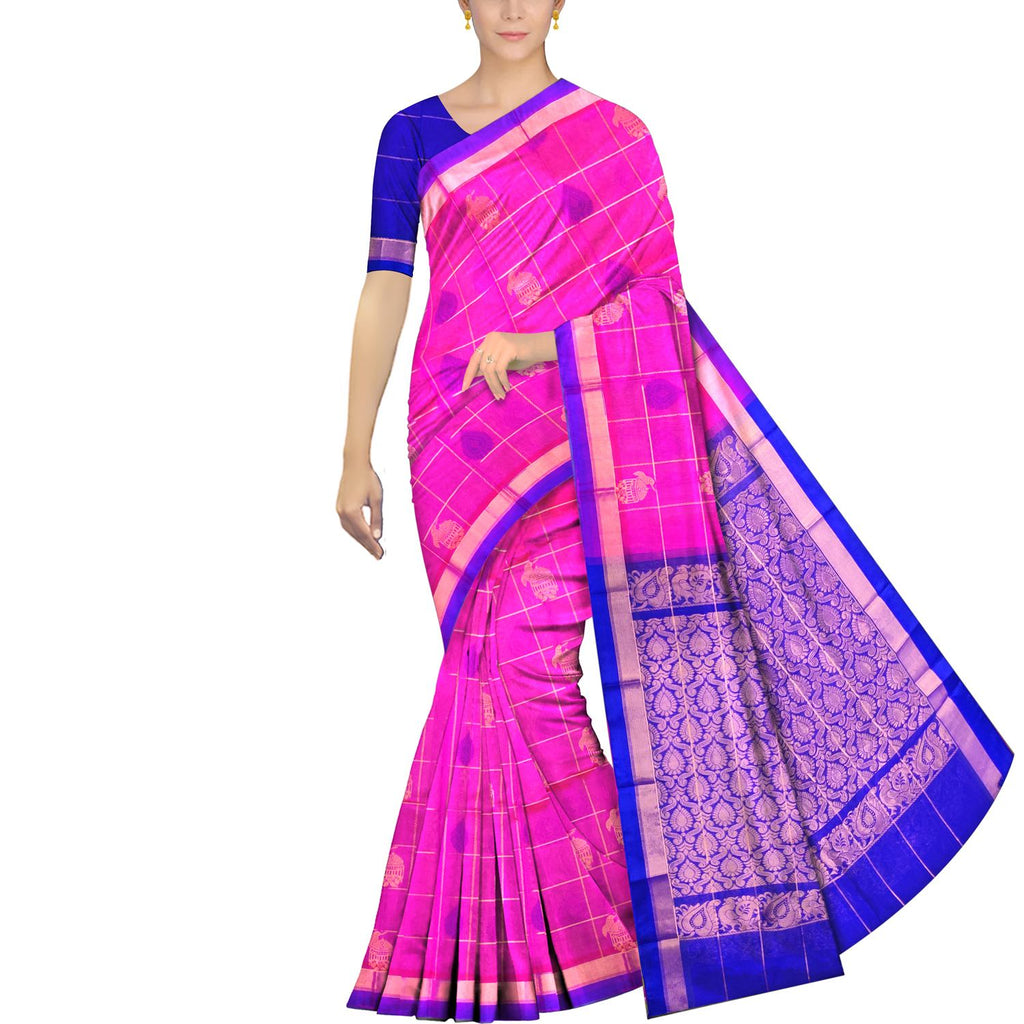 Magenta Uppada Handweave Body checks flower and bird buta Saree