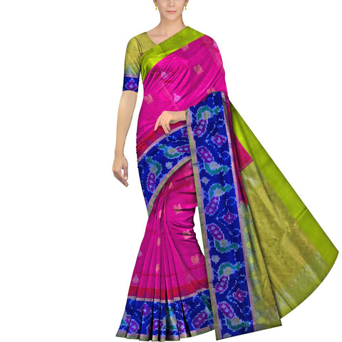 Deep Pink Uppada Kuppadam Pochampally temple border body peacock buta Saree