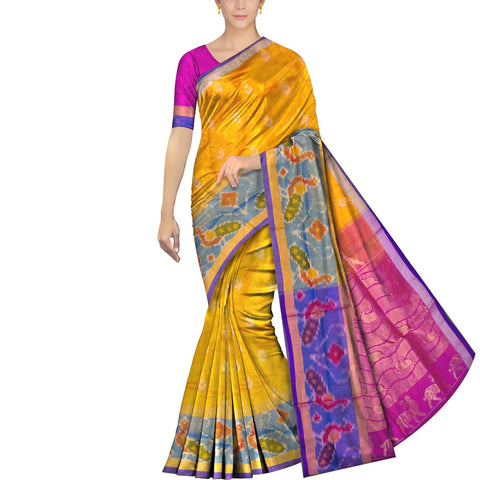 Bright Gold Uppada Pochampally Pochampally border flower gold zari buta Saree