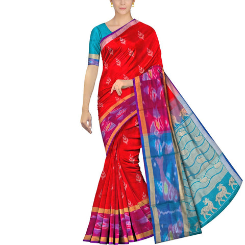 Red Uppada Pochampally Pochampally border flower gold zari buta Saree