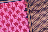 Blush Red Uppada Kuppadam Allover peacock thread buta Saree