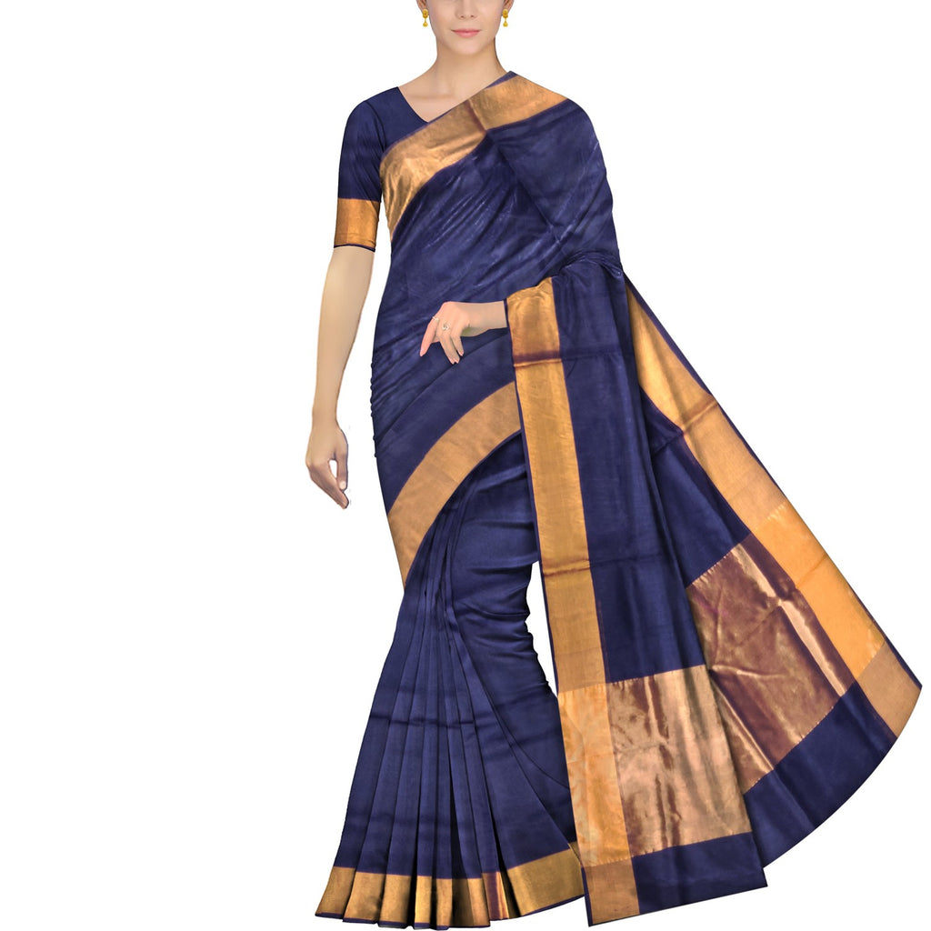 Black Uppada Handweave Plain zari kaddi border Saree