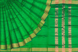 Kelly Green Uppada Handweave Plain zari kaddi border Saree
