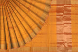 Orange Uppada Handweave Plain zari kaddi border Saree