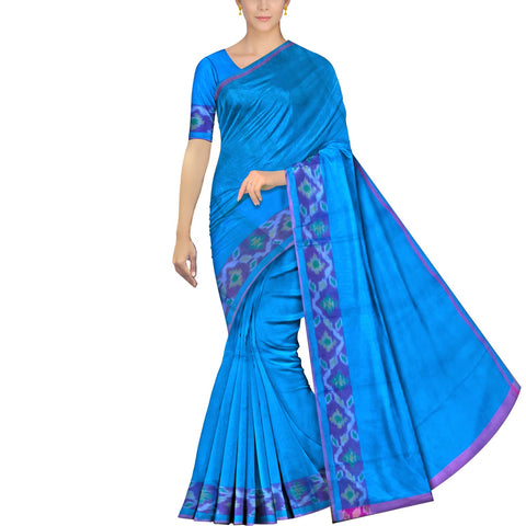 Deep Sky Blue Uppada Pochampally Plain body pochampally border Saree