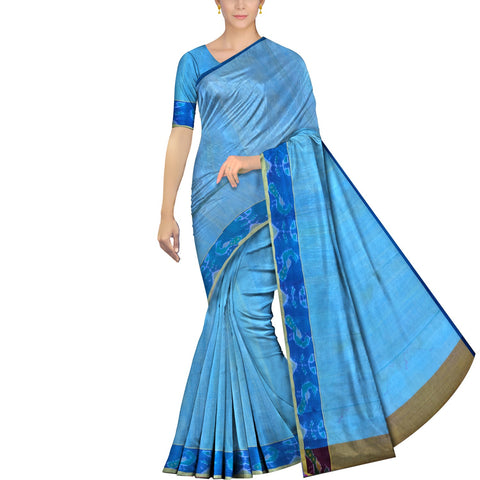 Light Sky Blue Uppada Pochampally Plain body pochampally border Saree