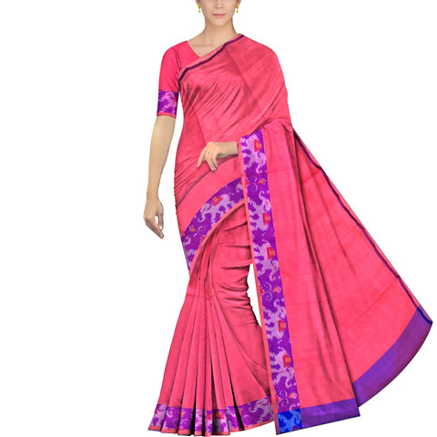 Valentine Red Uppada Pochampally Plain body pochampally border Saree
