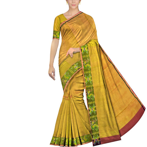 Orange Gold Uppada Pochampally Plain body pochampally border Saree