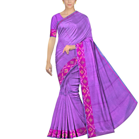 Deep Lilac Uppada Pochampally Plain body pochampally border Saree