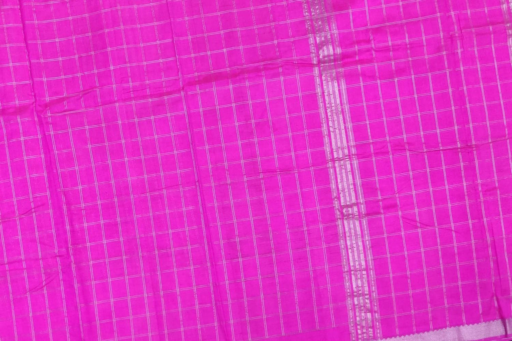 Neon Pink Uppada Handweave Body silver zari checks nizam border Saree