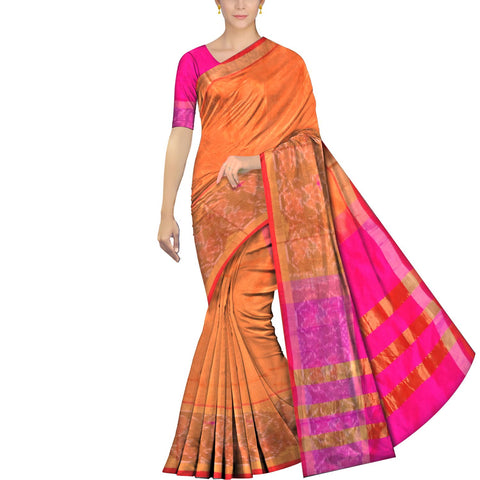 Orange Uppada Pochampally Big pochampally zari border Saree