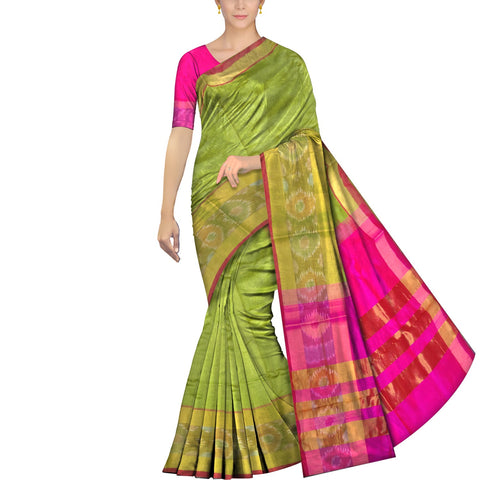 Parrot Green Uppada Pochampally Big pochampally zari border Saree