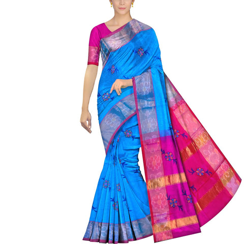 Deep Sky Blue Uppada Hand Print Pochampally border flower buta Saree