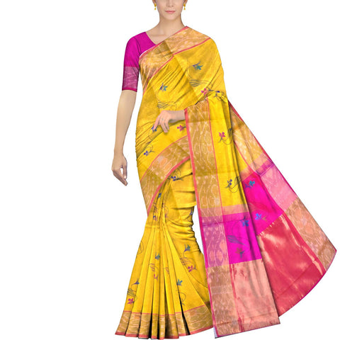 Bright Gold Uppada Hand Print Pochampally border flower buta Saree