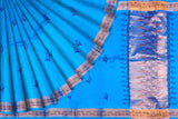 Deep Sky Blue Uppada Hand Print Gold zari border flower body buta Saree