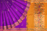 Violet Uppada Hand Print Gold zari border flower body buta Saree