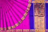 Neon Pink Uppada Hand Print Gold zari border flower body buta Saree