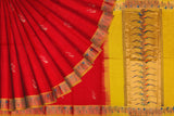 Red Uppada Hand Print Gold zari border flower body buta Saree