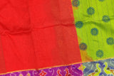 Red Uppada Hand Print Pochampally temple border body print Saree