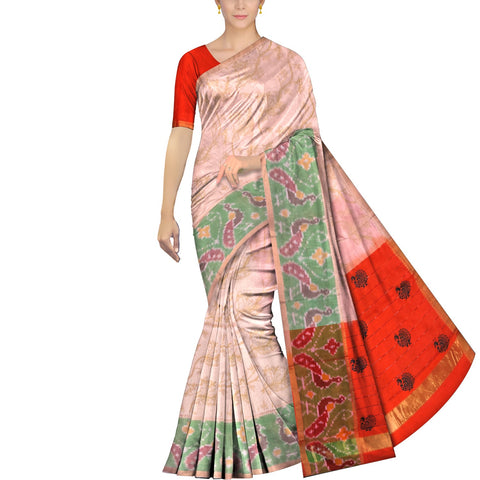 SeaShell Peach Uppada Hand Print Pochampally temple border body print Saree