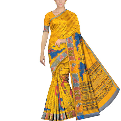 Bright Gold Uppada Hand Print Pochampally border lady handpaint Saree