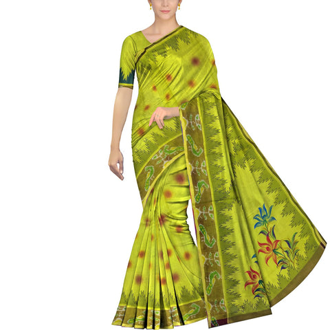 Slime Green Uppada Hand Print Pochampally border temple paint Saree