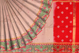 SeaShell Peach Pochampally Hand Print Big pochampally border small buta print Saree