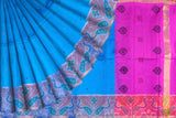 Deep Sky Blue Pochampally Hand Print Big pochampally border small buta print Saree