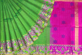Parrot Green Pochampally Hand Print Big pochampally border small buta print Saree