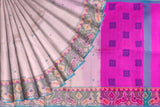 Beige Pochampally Hand Print Big pochampally border small buta print Saree