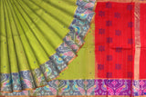 Pistachio Green Pochampally Hand Print Big pochampally border small buta print Saree