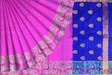 Hot Pink Pochampally Hand Print Big pochampally border small buta print Saree