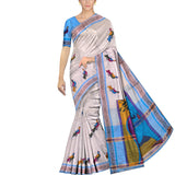 Milk White Uppada Hand Print Small pochampally border krishna paint Saree