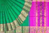 Parrot Green Uppada Hand Print Big zari border leaf paint Saree