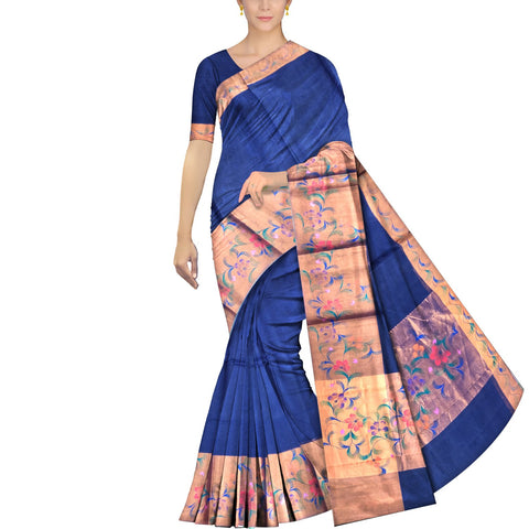 Midnight Blue Uppada Hand Print Big zari border leaf paint Saree