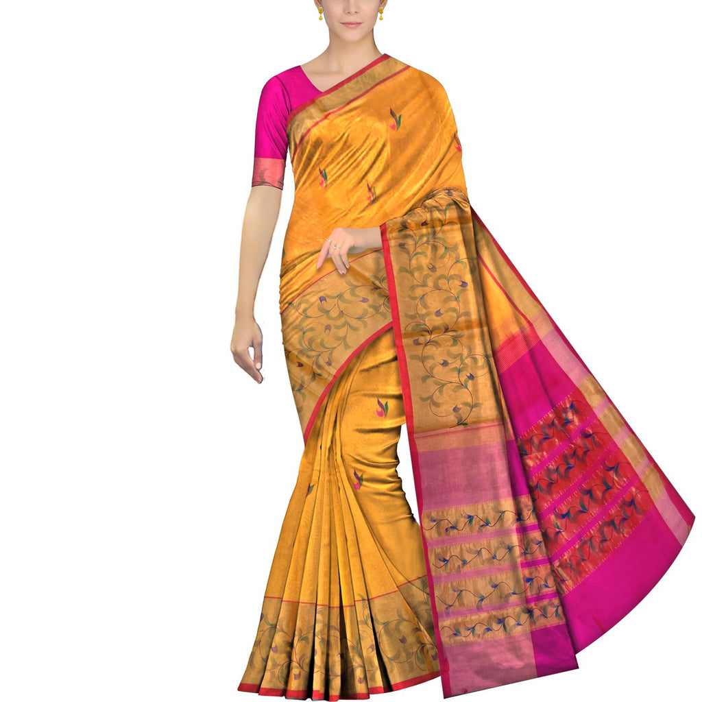 Orange Uppada Hand Print Big zari border leaf paint Saree