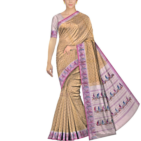 Peach Mangalagiri  Hand Print Temple border wave & small buta paint Saree