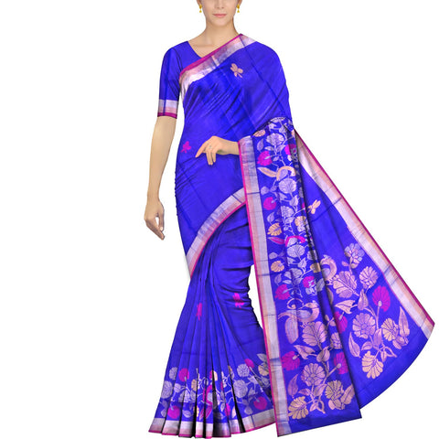 Cobalt Blue Uppada Handweave Peacock flower & branch buta Saree