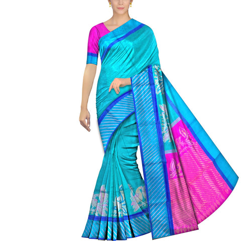 Medium Turquoise Ksheerapuri Kuppadam Dancing peacocks border zari buta Saree